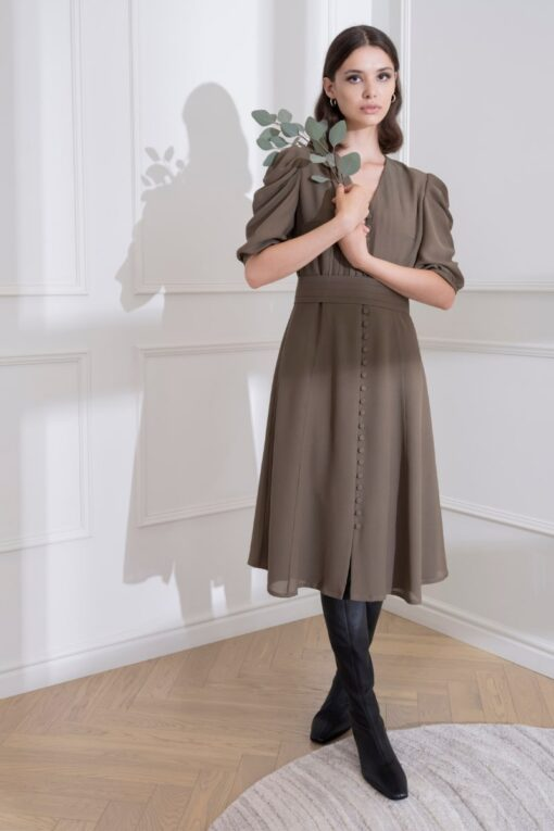 DIANA ARNO MEGHAN BUTTON-DOWN SILK DRESS
